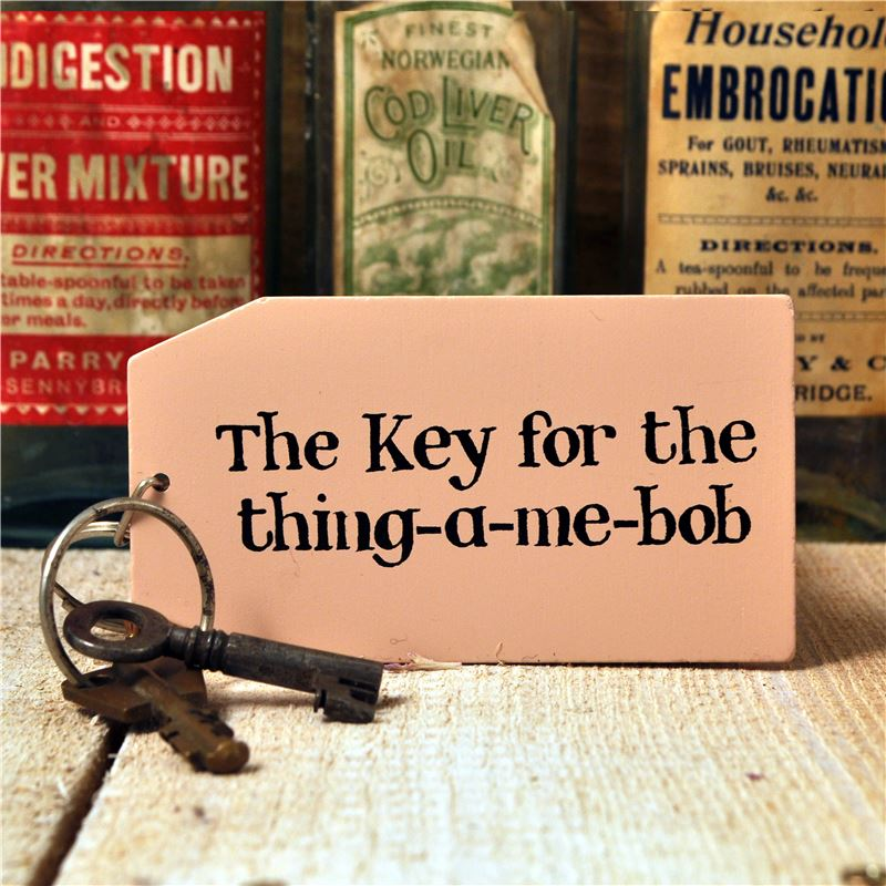 Wooden Key Ring:  The key for the thing-a-me-bob