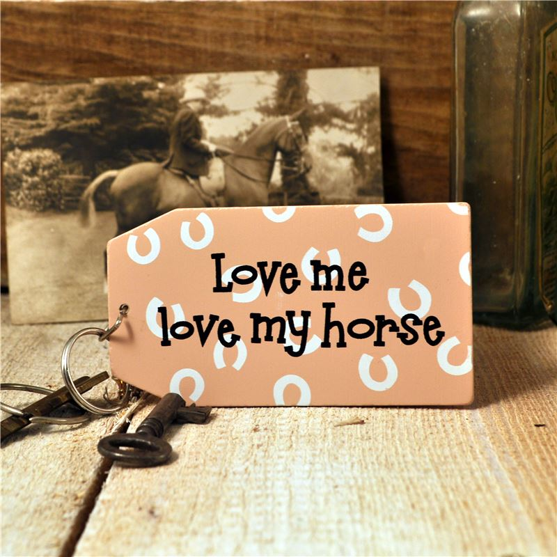 Order Wooden Key Ring:  Love me love my horse