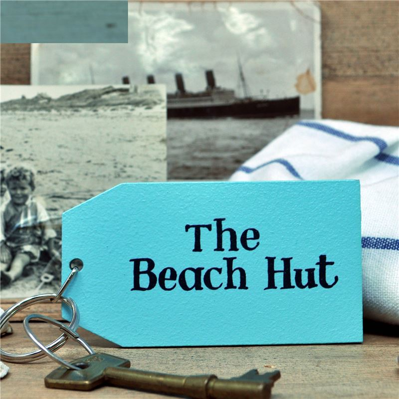 Hand Painted Key Ring:  The Beach Hut