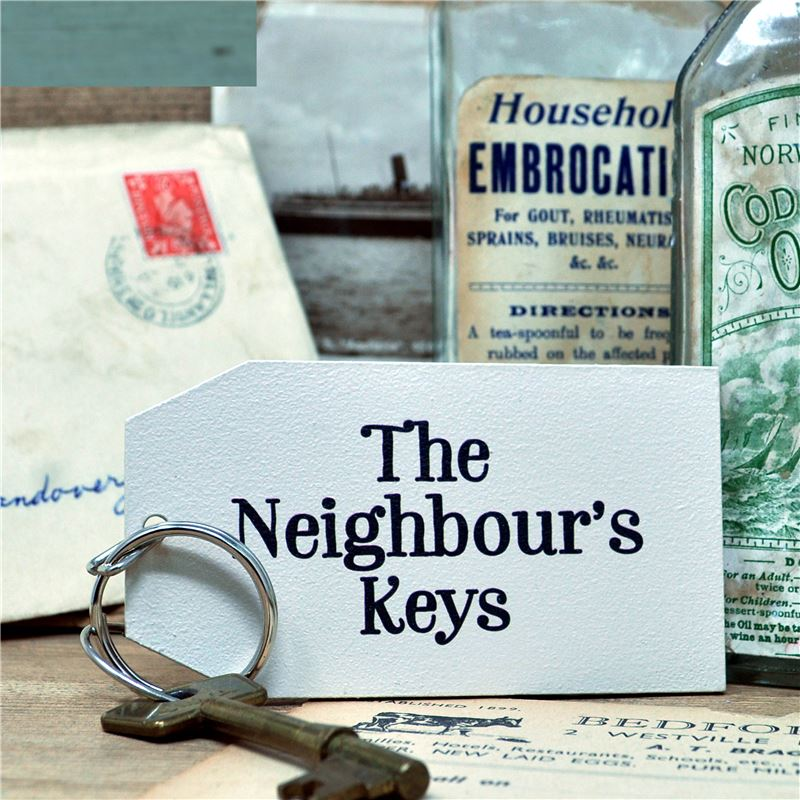 Wooden Key Ring:  The Neighbour's Key