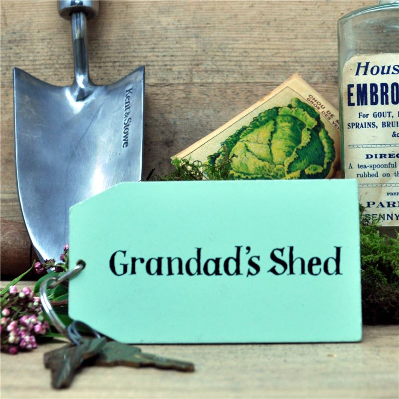Wooden Key Ring:  Grandad's Shed