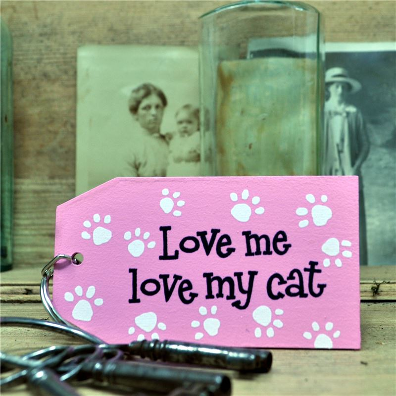 Wooden Key Ring:  Love me love my cat