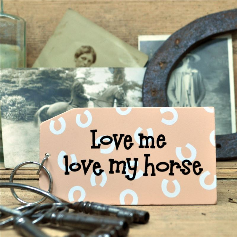 Wooden Key Ring:  Love me love my horse