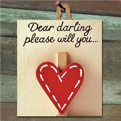 Hand Painted Wooden Heart Peg: Dear Darling (Red)