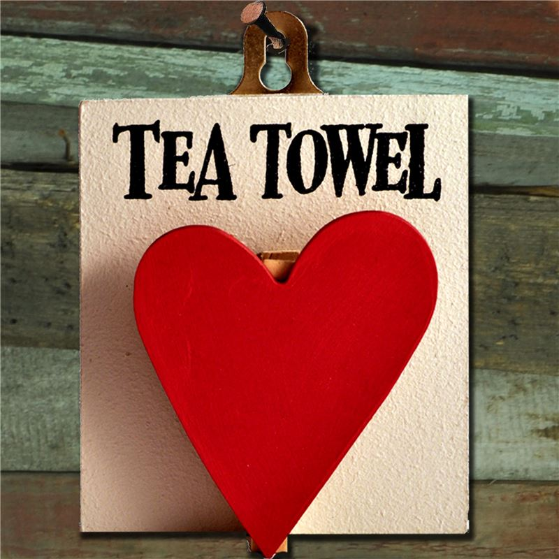 Order Hand Painted Wooden Heart Peg: Tea Towel Red Heart