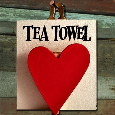 Hand Painted Wooden Heart Peg: Tea Towel Red Heart