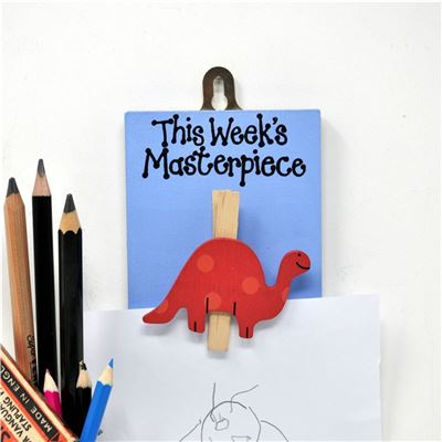 Hand painted wooden peg:  This week's masterpiece - Dinosaur