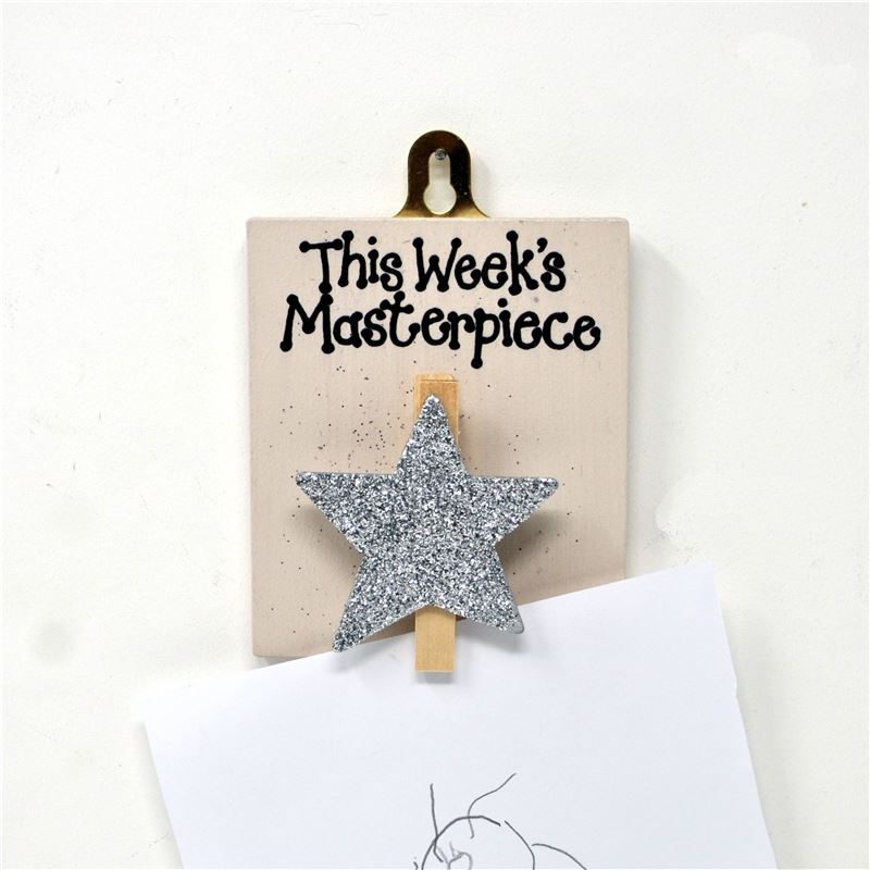 Hand Painted Wooden Peg:  This week's masterpiece (silver sparkly star)