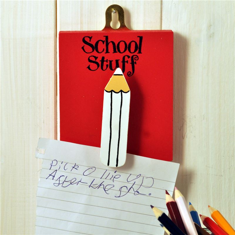 Order Hand Painted Wooden Peg:  School Stuff (red)