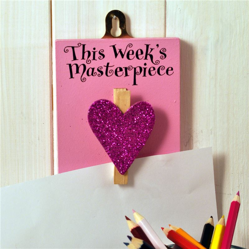 Order Hand Painted Wooden Peg:  This week's masterpiece (purple sparkly heart)