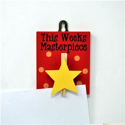 Wooden Peg:  This week's masterpiece (yellow star)