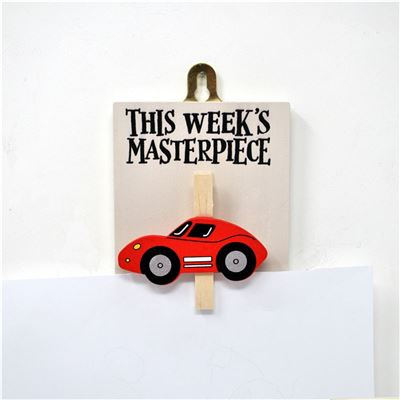Hand Painted Wooden Peg:  This week's masterpiece (car)