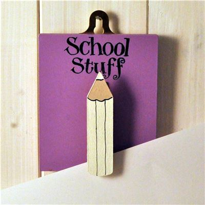 Hand Painted Wooden Peg:  School Stuff (lilac)
