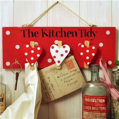 The Kitchen Tidy:  Hand painted wooden peg board (red)