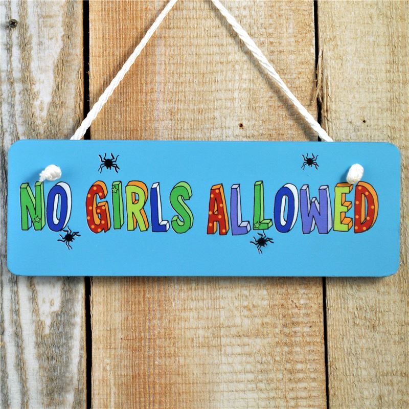 Hand Painted Wooden Door Sign: No Girls Allowed Each