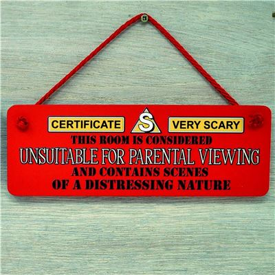 Hand Painted Wooden Door Sign:  Parental Warning