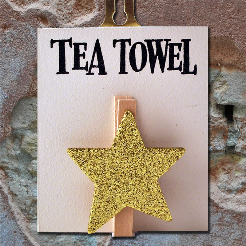 Hand Painted Wooden Peg:  Tea Towel (gold sparkly star)