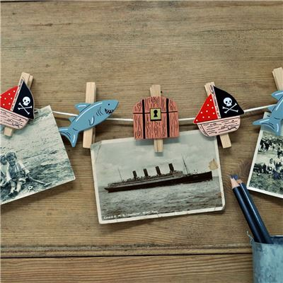 String of hand painted wooden pegs:  Pirate