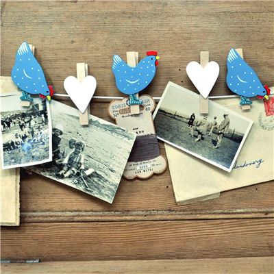 String of hand painted wooden pegs:  Chickens and hearts (blue)