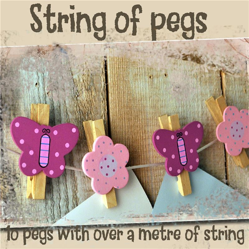 Order String of hand painted wooden pegs:  Butterfly and Flower