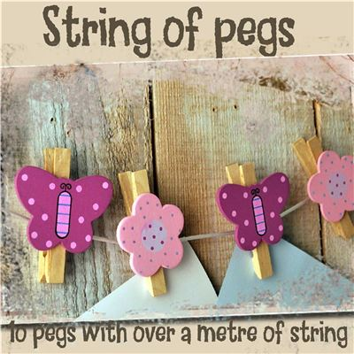 String of hand painted wooden pegs:  Butterfly and Flower