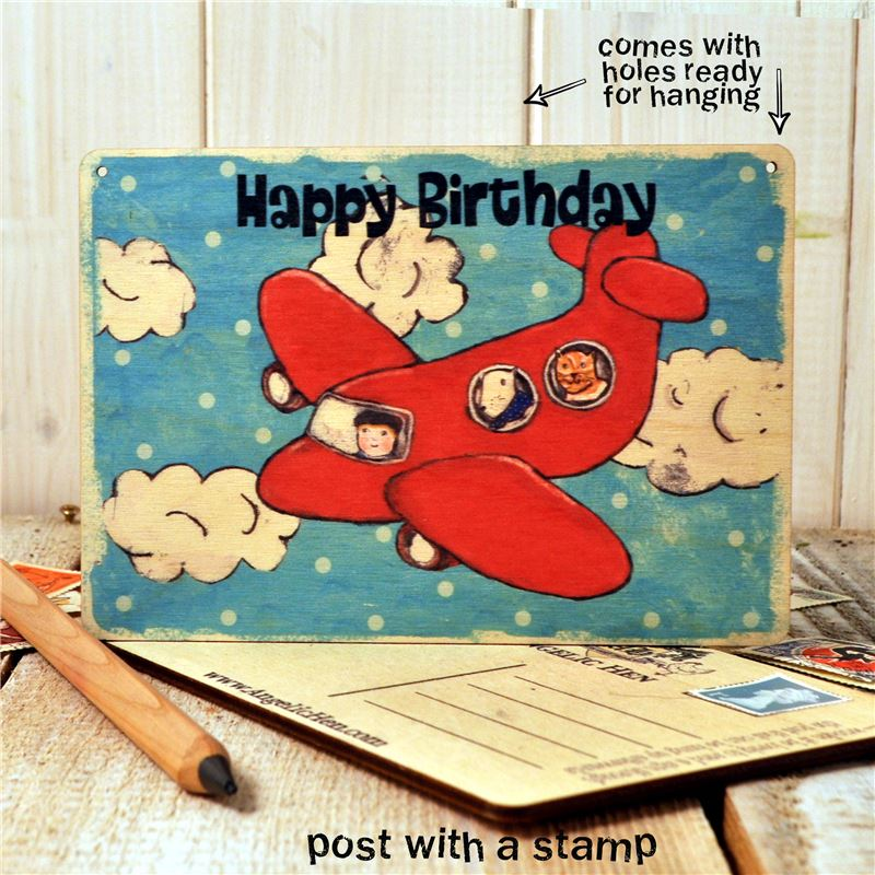 Wooden Postcard - Happy Birthday aeroplane