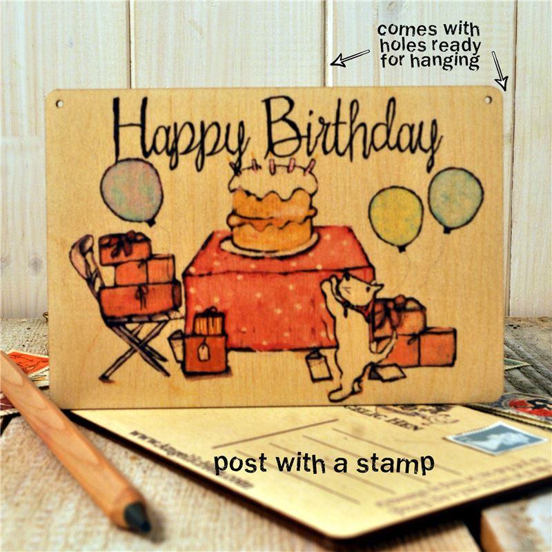Order Birthday Tea Party Wooden Postcard