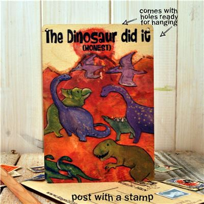 Wooden Postcard - The Dinosaur did it