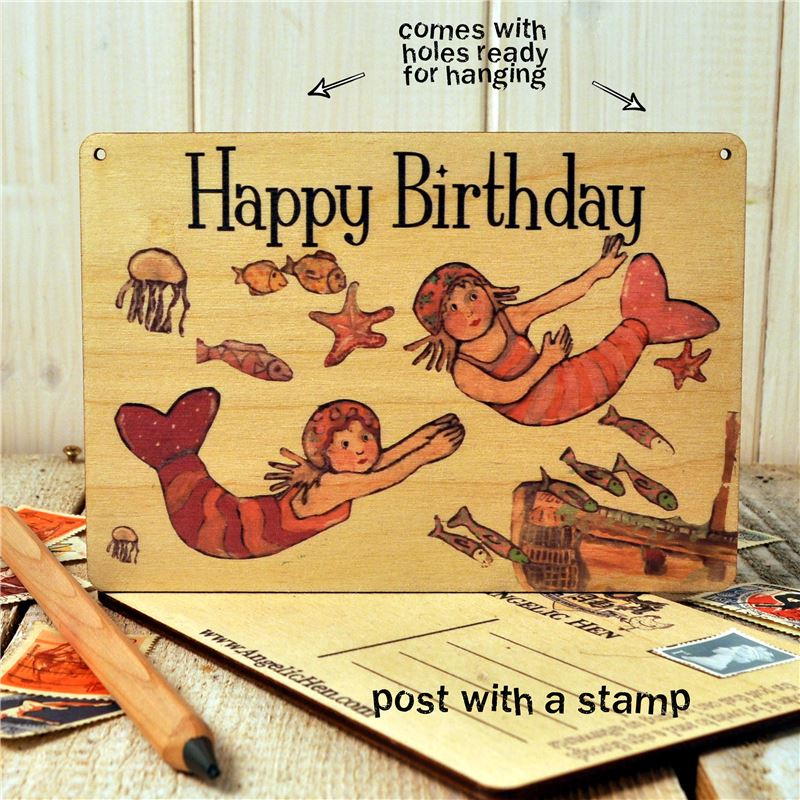 Wooden Postcard-Mermaid Happy Birthday