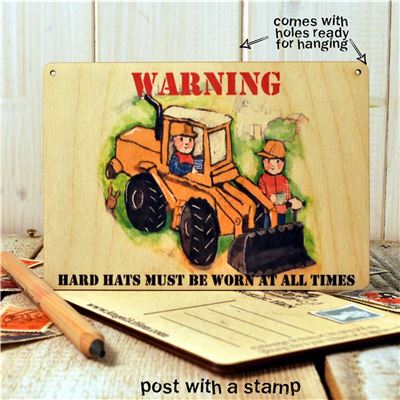 Wooden Postcard - Warning hard hats must be worn