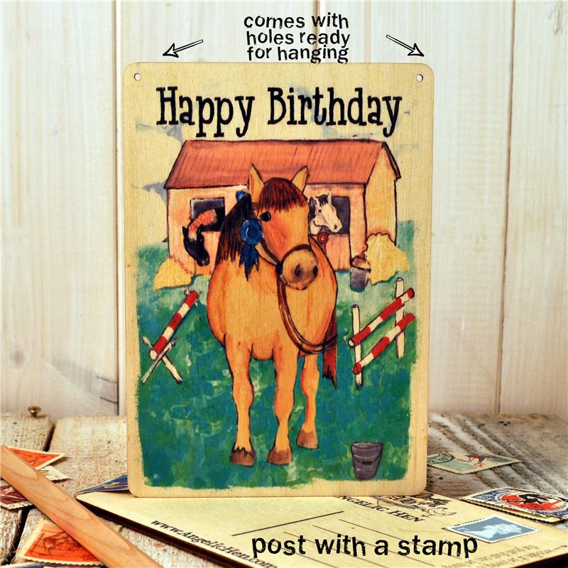 Wooden Postcard- Happy Birthday horses