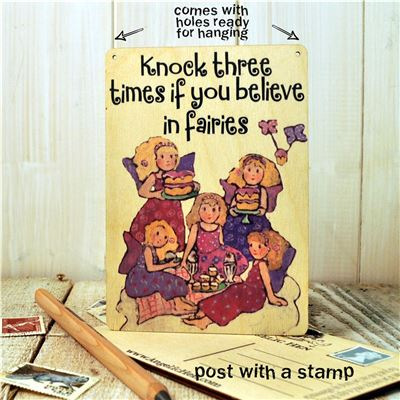 Wooden Postcard-Knock three times if you belive in fairies