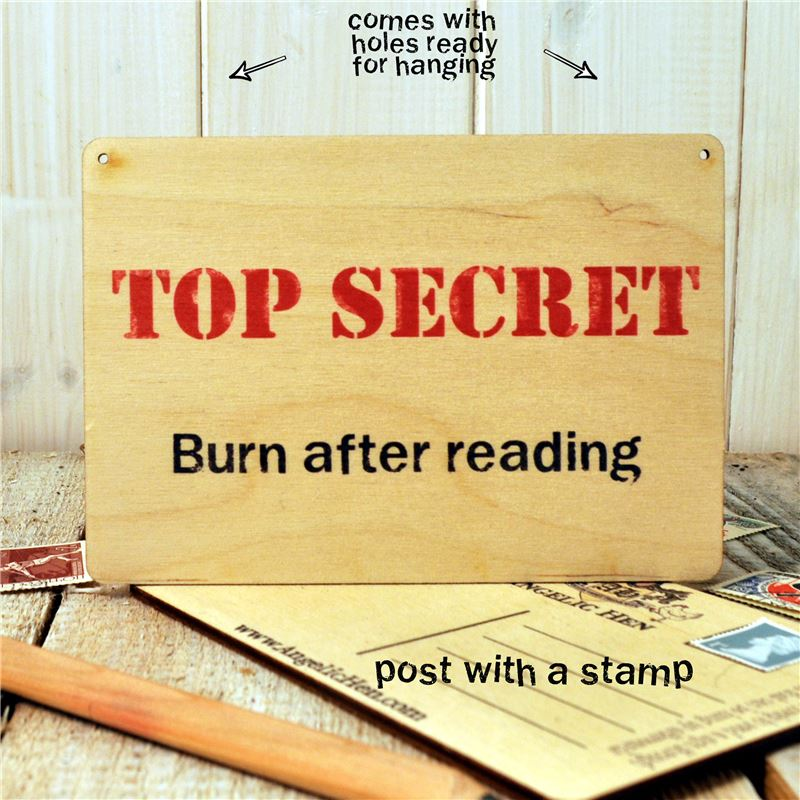 wooden post card - Top Secret