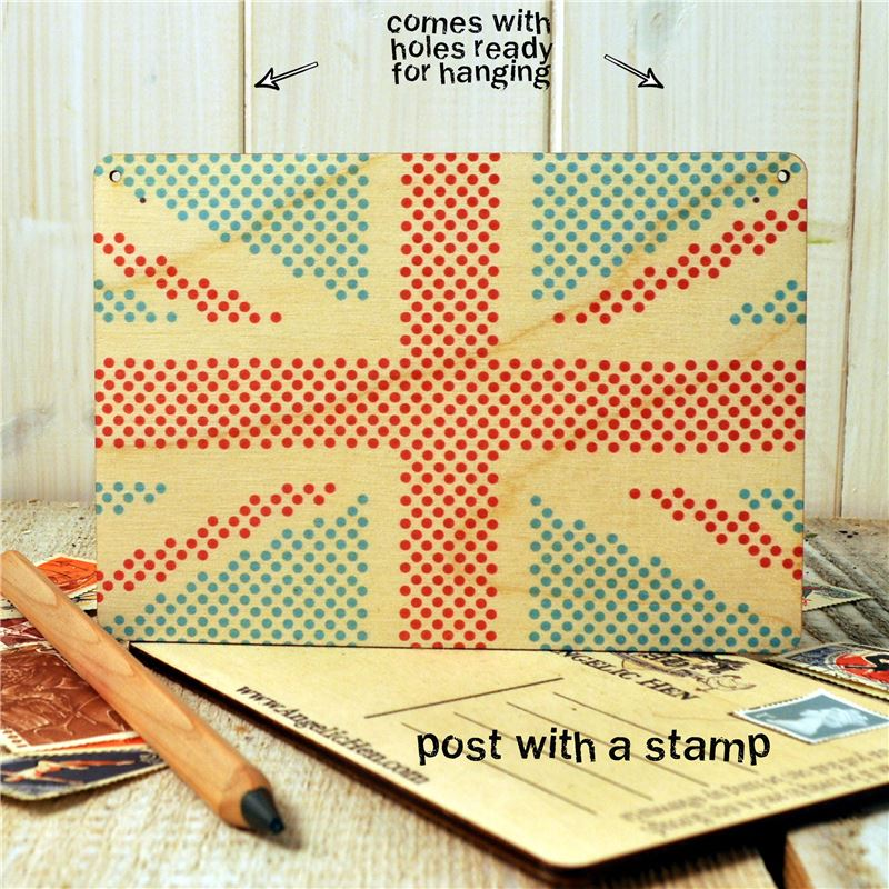 Wooden Postcard union jack